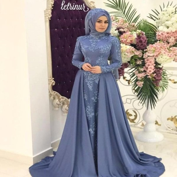 Saudi Arabic Modest Muslim High Neck Prom Dresses Hijab Lace Appliques Long Sleeves Celebrity Gowns Evening Dress with Detachable Train