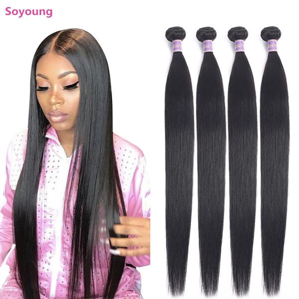 Soyoung Hetero Pacotes de cabelo, Weave brasileiro, 100% Cabelo Humano, Natural Color Weave Cabelo Non Remy 1/3/4 Pieces