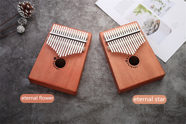 top popular C001 17 Keys Kalimba Wood Mahogany Body Thumb Piano Musical Instrument accessories two style can be choosed 2021