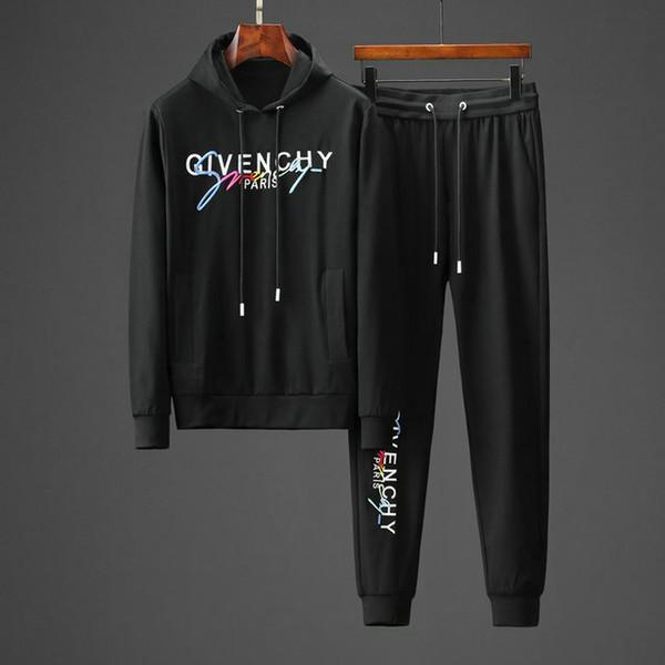 LFY 2019 осени и зима Мужчины Tracksuit сгущает Оригинальная вышивка свитера и брюки модно и удобно