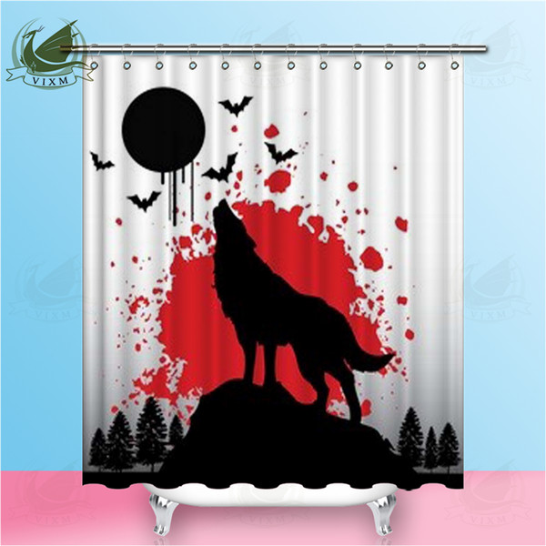 Vixm Black Bat Horror Wolf Bloodstain Shower Curtains Moon Japanese Style Waterproof Polyester Fabric Curtains For Home Decor