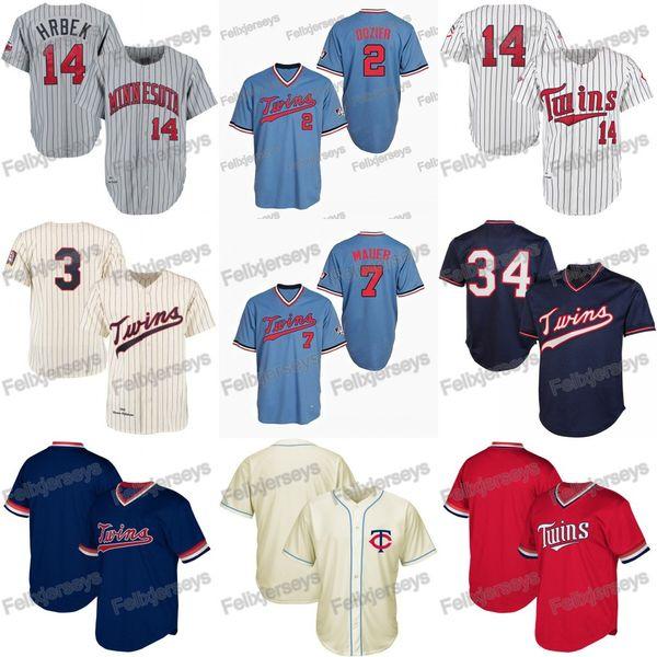 14 Kent Hrbek Minnesota 2 Brian Dozier Harmon Killebrew Twins Joe Mauer Kirby Puckett Baseball Jerseys