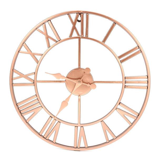 Metal Rose gold Wall Clock 40cm Copper Roman Openwork Silent Home Decor Living Room Simple Design