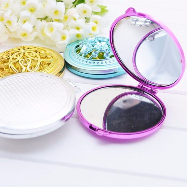 New Mini Makeup Pocket Mirror Vintage Hand Mirrors Compact Double-Side Bent Hollow Girls Women Christmas Gifts Tool