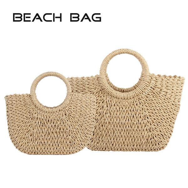 Sacos de palha para as Mulheres 2019 Verão Rattan Saco Handmade Woven Praia Bag Bohemia Bali bolsos Bolsa