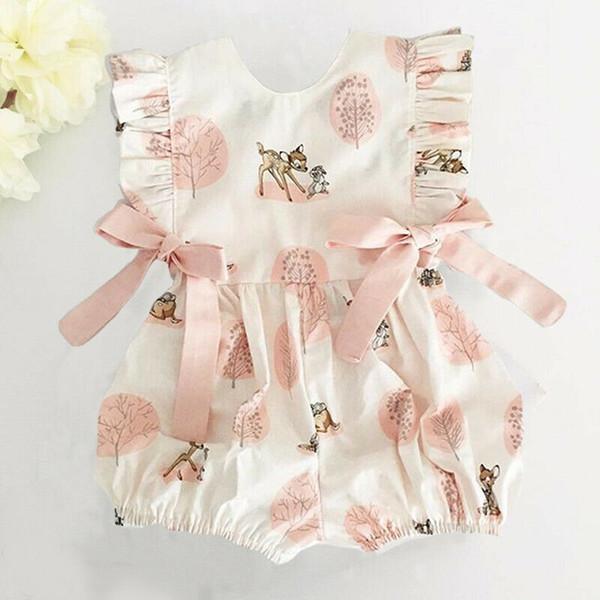 2019 Yeni Varış Yaz Yenidoğan Bebek Bebek Kız Giysileri Yay Karikatür Geyik Romper Tulum Giysileri Kıyafetler bebek