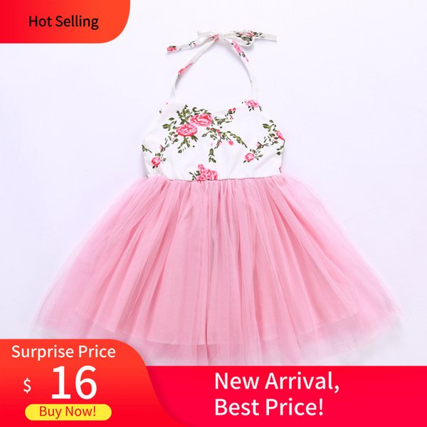Pink Baby Girls slip dress Printed screen Princess dress children's Dress Girl 1-7Y