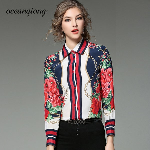 Floral Shirt Femmes Blouse Printemps 2018 Mode Femmes Blouse Shirt Floral Imprimé À Manches Longues Turn Down Col Hauts Lady