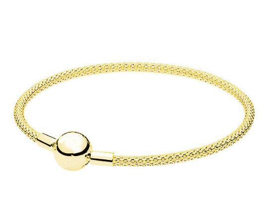 Original 925 Sterling Silver Pan Gold Color Snake Chain Basic Ball Clasp Mesh Bracelet Fit Women Bead Charm Diy Jewelry