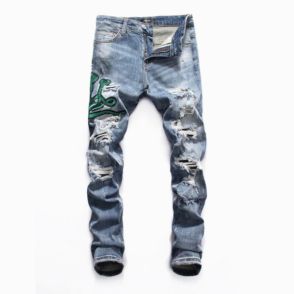 SS19 HOT New Arrive Skinny Water wash Motorcycle Jeans Desinger AM8049 in single cow thickened Slim paris quality plugs Men jeans
