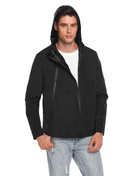 Fashion Men Casual Hoodie Long Sleeve Front Zipper Pocket Raincoat