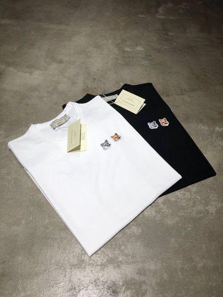 Maison Kitsune 19 neue kleine Fuchs T-Shirt Doppel Fuchs Kopf Stickerei Abschnitt Kurzarm 2 Farben