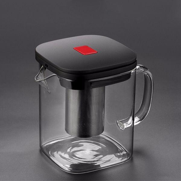 2Sizes verre carré Bonne Teapot Effacer Borosilicat en acier inoxydable 304 Infuser Passoire chaleur thé café Pot Tool Set bouilloire