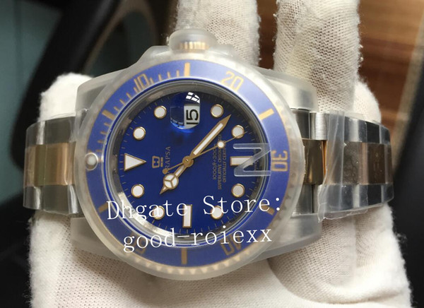 Luxury Watch V7 Version Mens Automatic Eta 3135 Blue Watches Real Wrapped 18k Gold Never Fade Men Date 116618 N Factory Oyster Wristwatches