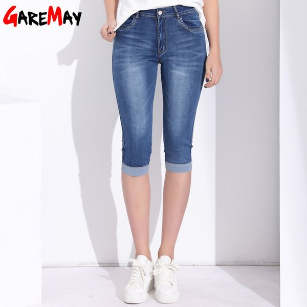 Garemay Plus Size Skinny Capris Jeans Woman Female Stretch Knee Length Denim Shorts Jeans Pants Women With High Waist Summer J190426