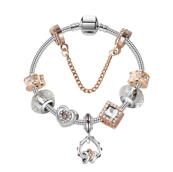Pandora Charm Bracelet 925 Silver Women Bracelets Diamonds Crystal Bangle cuff Jewelry Gift Big hole bead Bracelet Valentine's Day gift