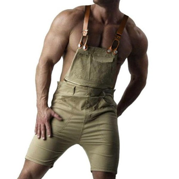 Pop2019 Mens Retro Denim Bib Overall Shorts Suspender Pants Summer Jeans Jumpsuit For Gay Men Rompers 5XL