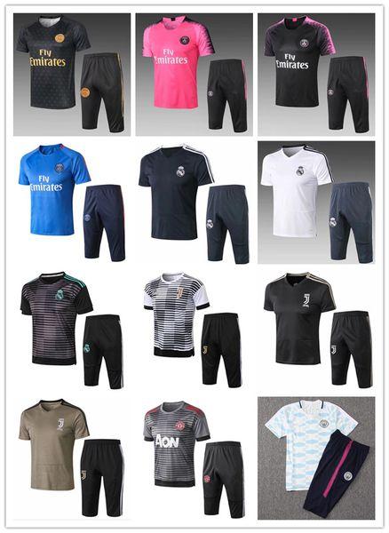 2018 Juventus Real Madrid Bayern PSG man utd training suit soccer short sleeve 3/4 pants Summer Paris RONALDO MESSI football shirt tracksuit