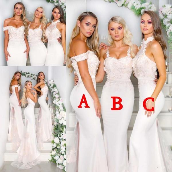 Sirena Vestidos de dama de honor para la boda 2019 Estilos mezclados atractivos Vestidos de fiesta de noche formales Apliques Tren de barrido Invitada Vestido de dama de honor