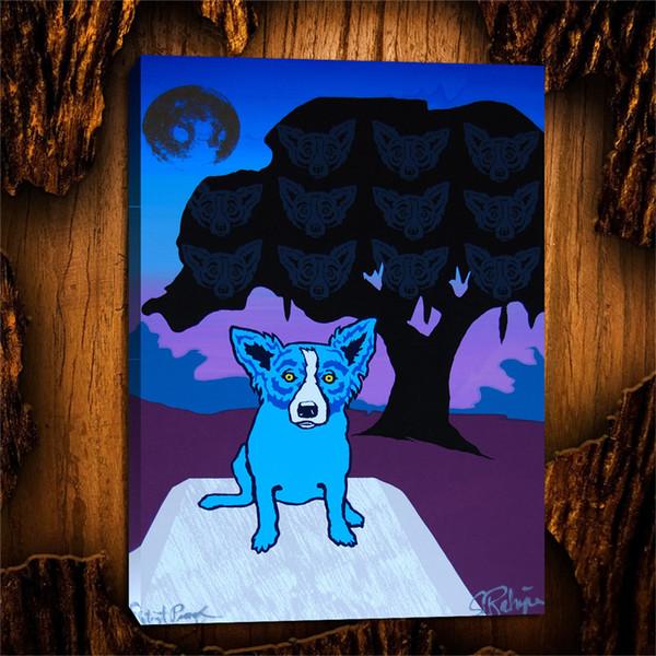 Blauer Hund Spirituosen in den Bäumen - Split Schrift Flieder, 1 Stück Leinwand Wandkunst Ölgemälde Home Decor (ungerahmt / gerahmt) 24X32.