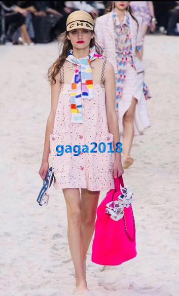 women girls weaving tweed silk slip dress crystal button pearls chain multicolor polka dot shirt midi skirt high-end custom runway dresses