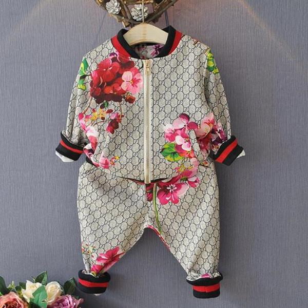 Bambini del vestito di autunno della molla della ragazza del ragazzo del vestito Fiore Giacca + pantaloni 2 insiemi dei pc scherza i vestiti casual neonata Boy Set Costume