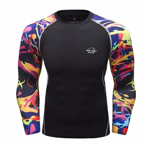 Camisa de compresión para hombre Camiseta de manga larga 3d Fitness Hombres Lycra Mma Crossfit Camiseta Medias Ropa de marca