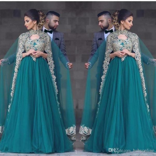 Hunter Green Abayas Kaftan Muslimische Caped Lange Ballkleider A Line High Neck Gold Spitze Applikationen Perlen Türkische Abendkleider