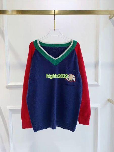 haut de gamme de femmes filles tricot tops pull-over design de la piste de tricot chemise blouse à manches longues patchwork pull rayé broderie v-cou mode