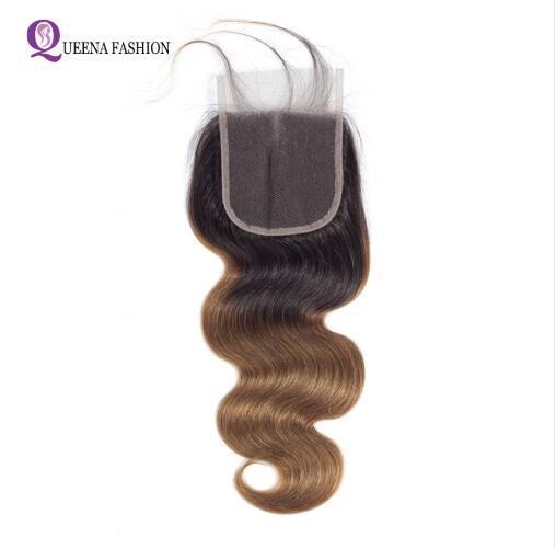 Ombre Cuerpo brasileño Ola de cierre Ombre cabello humano Cierre de encaje con el pelo del bebé 1B / 30 Dos tonos Color 4x4 encaje suizo Top cierre