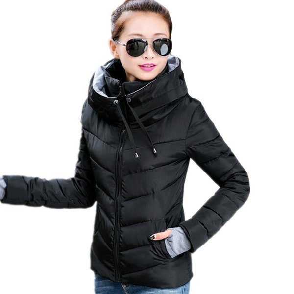 Causal 2019 Ladies Solid Padded Jacket Short Autumn Winter Wadded Jacket Women Hooded Coats Female Parkas With Gloves Overcoat