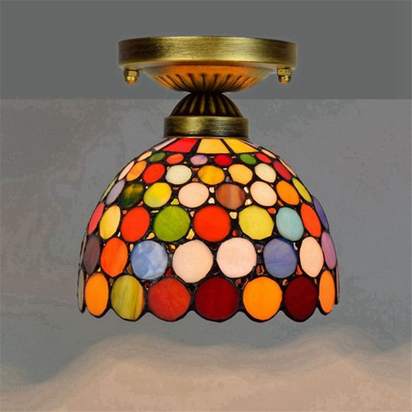 top popular 20CM Tiffany stained glass chandelier aisle corridor balcony small ceiling light European retro colorful bar lamps TF015 2021