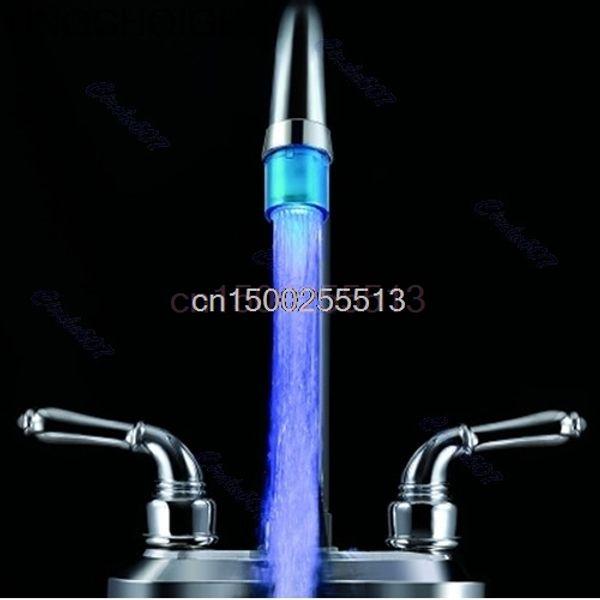 2 pz / lotto Bagno Cucina Mini Blue Glow LED Light Water Stream Faucet Tap A8