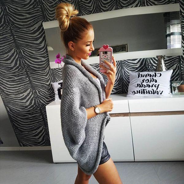 Ruffle Sweater Womens Lantern Sleeve Loose Sweater Jumper Knitwear Casual Cardigan Outwear Autumn Coat Cardigans Feminino Blusas