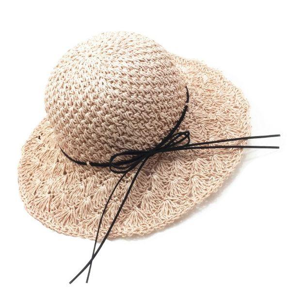 Women Girls Handmade Crochet Weave Foldable Beach Straw Sun Hat Floppy Wide Brim Bowknot Lacing UV Protection Summer Bucket Cap