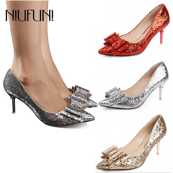 Designer Dress Shoes Pointed Toe Bling Wedding 2019 Spring and Autumn New Pumps Shallow Mouth Bow Sexy 6cm Glitter Med Heels Pumps Cheap