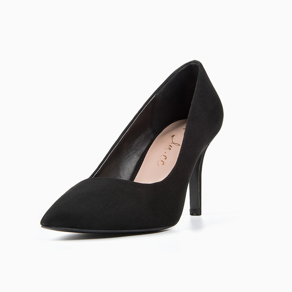 2019 Dress Women Black Pumps Office Lady Super High Heel Shoes Women's Pointed Toe Flock Dress Shoes 2242