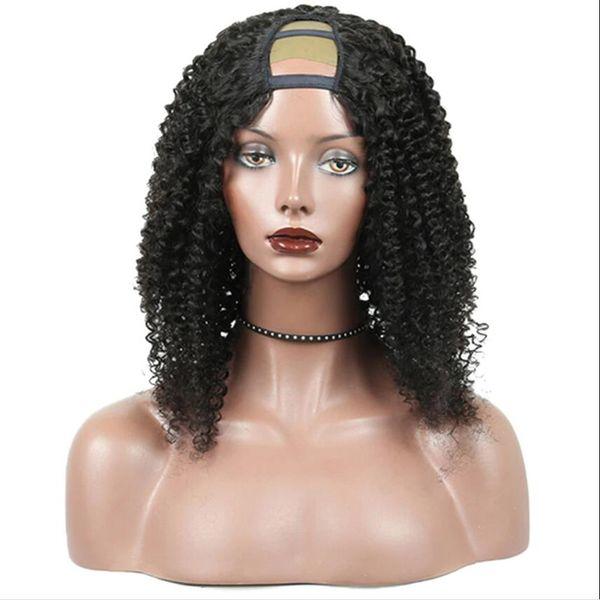 Pas cher Kinky Bouclés U Partie Perruque Vierge Cheveux 100% Non Transformés Perruque De Cheveux Humains Upart Perruques Kinky Bouclés U-Part Perruque Pour Femme Noire