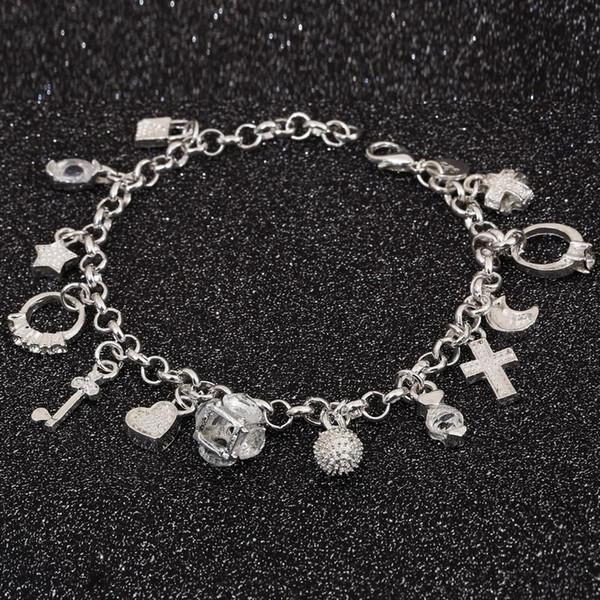 Vente en gros Bracelet 925 bijoux en argent plaqué Croix Charme Bracelet Bijoux De Mode Bracelet Leading Shrimp Boucle 20CM Chaîne Livraison Gratuite
