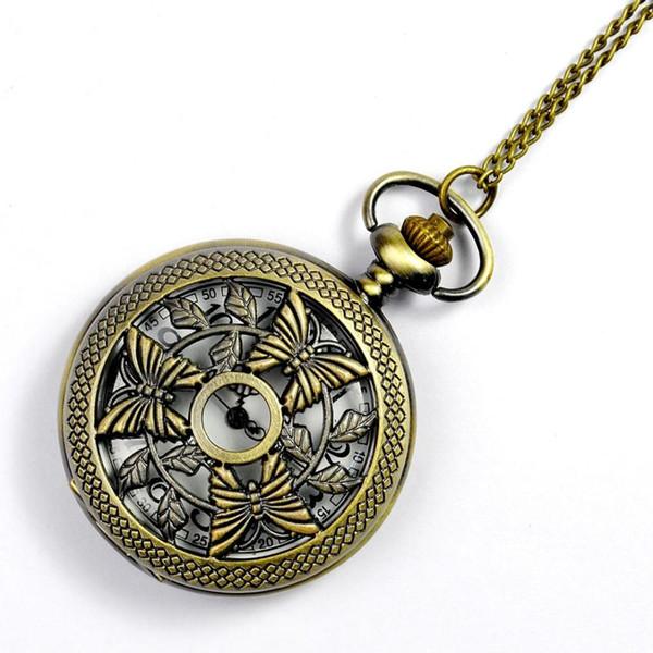 Tendência restaurar antigas formas três borboleta oco out white face clássico relógio de bolso de quartzo com colar