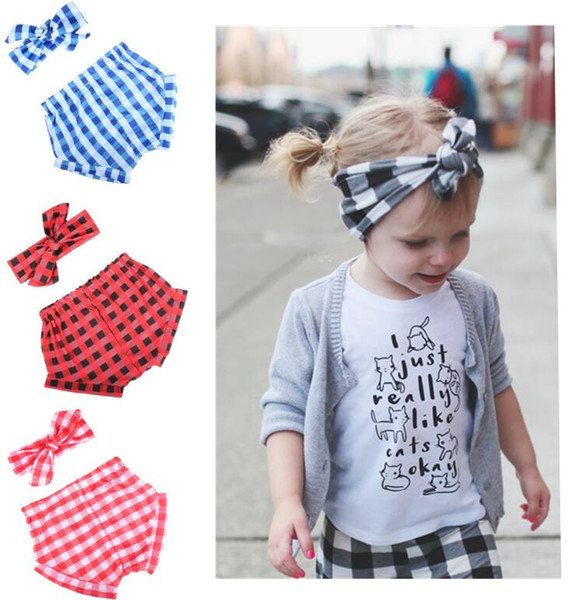 Girls Bloomers Headbands Set Baby Grid Rabbit Hairband Lattice Shorts Infant Boutique Diaper Covers Toddler Pants Underwear