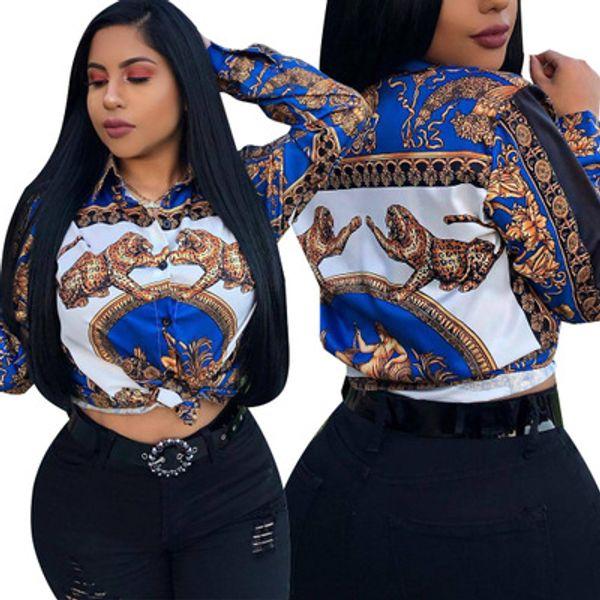 Envío gratis 2019 nuevas mujeres sexy cuello de solapa camisa impresa Casual Slim Fit camisa Tops manga larga