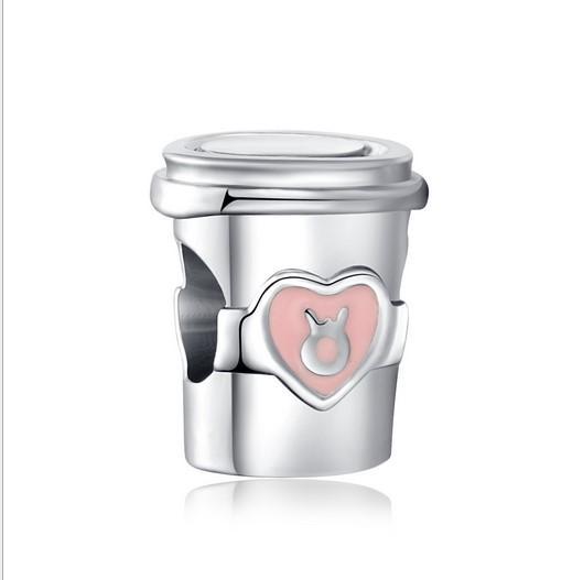 Fit Pandora Charm Bracelet 30 pcs Crown Logo Coffee Cup European Silver Bead Encantos Beads DIY Cadeia de Cobra Para As Mulheres Pulseira Colar de Jóias