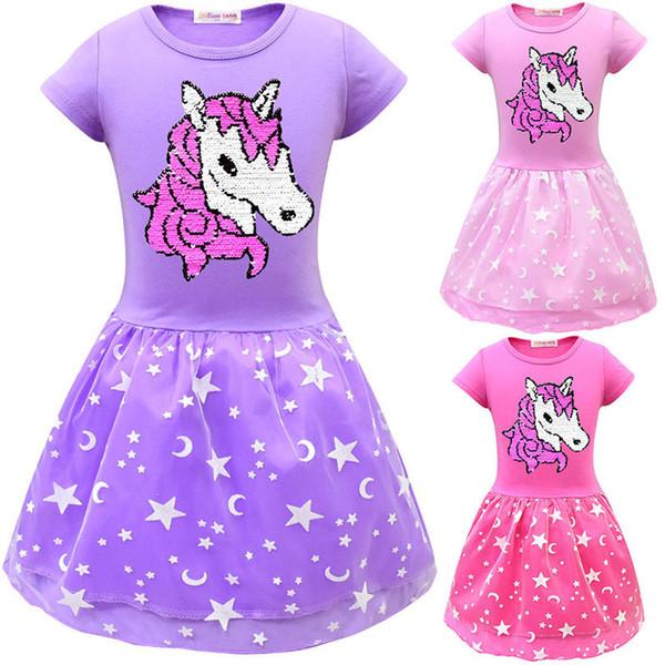 Whole Little Girls Unicorn Lace Dress Children Reversible Sequins Mesh Double Pleated Dresses Kids Cotton T-Shirts Summer Dress girls Gifts