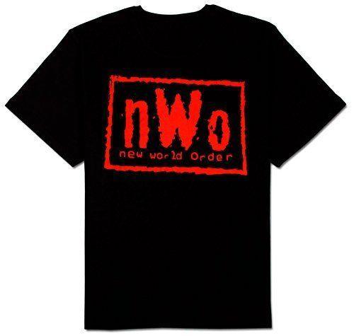 Adult Men's WCW Wrestling NWO New World Order Red Ink Wolfpac Black T-shirt Tee Fashion Short Sleeve 2018 Men'S Lastest