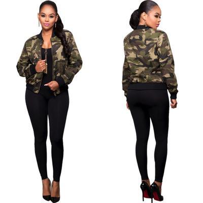 Yeni Seksi Kadınlar Kamuflaj Baskı Ceketler Uzun Kollu Fermuar Ön Kadınlar Bodycon Dış Giyim Ceket Kaban P458