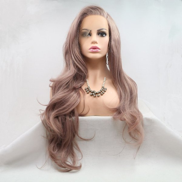 High Quality Synthetic Lace Front Wigs For Women Realistic Looking Long Wavy Smoke Pink High Temperature Fiber Synthetic Lace Wig
