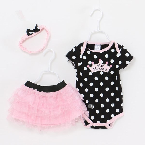 Baby Girl Clothes Newborn 3 Piece Suits Short Romper +tutu Skirt + Headband Summer Girls Clothing Sets For Infant Outfits Y19050801