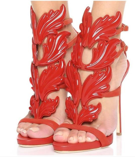 New Designer Classic Red Metal Wings Leaf Strappy Dress Sandal Silver Gold Red Gladiator High Heels Shoes Women Metallic Winged Sandals
