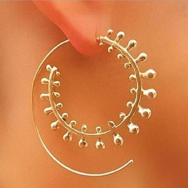 1 пар Нового Стиля напыщенного Vortex передач серьга Индивидуального круг Спиральных Большой обруч серьга для женщин ухи ювелирных изделий оптом
